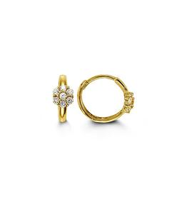 Yellow Gold Cluster CZ Baby Huggie Earrings