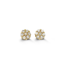 14K Yellow Gold Flower Cubic Zirconia Baby Earrings