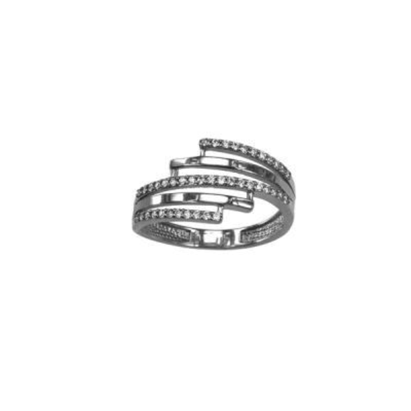 White Gold Fancy Cubic Zirconia Ring