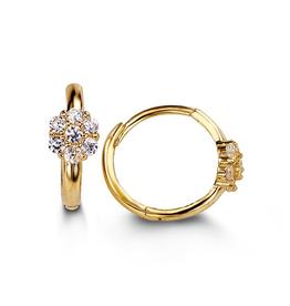 14K Yellow Gold Cluster CZ Huggie Earrings