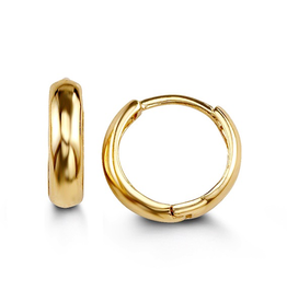 14K Yellow Gold (12mm) Polished Huggie Earrings