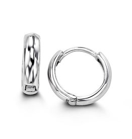 Sterling Silver Huggie Hoop Earrings Dome High Polished 11mm