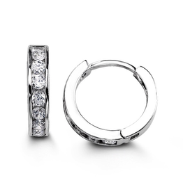 Sterling Silver CZ Huggie Hoop Earrings 13mm
