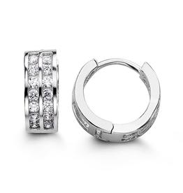 Sterling Silver Two Row CZ Huggie Hoop Earrings