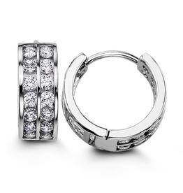 Sterling Silver Two Row CZ Huggie Hoop Earrings 14mm