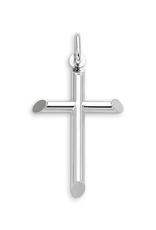 White Gold Plain Tube Cross Pendant (Medium)