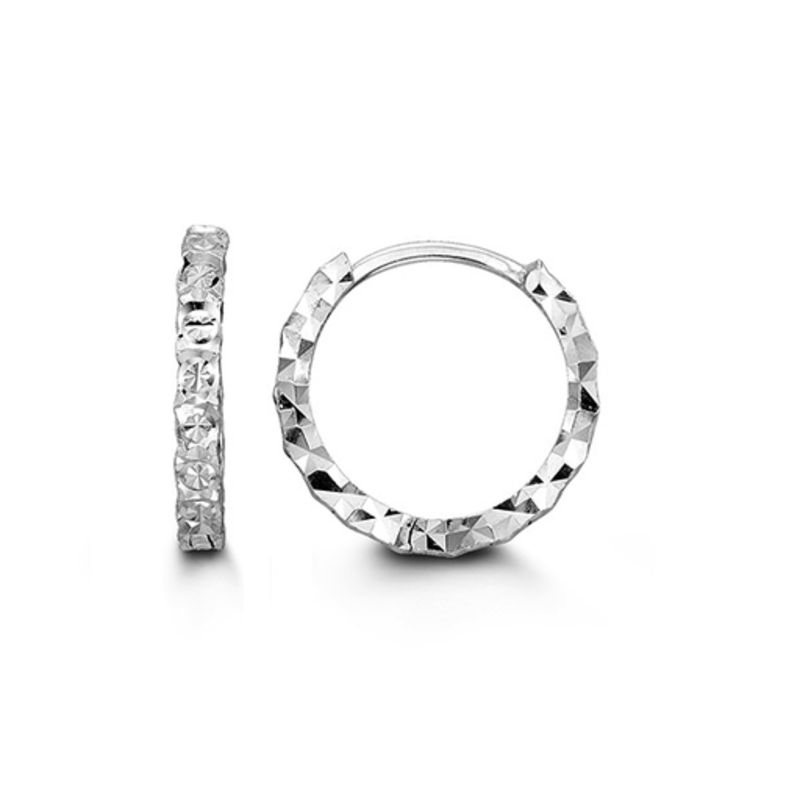 White Gold Diamond Cut Huggie Earrings