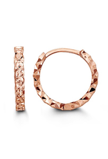 10K Rose Gold Diamond Cut Huggie Earrings (13mm)