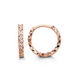 10K Rose Gold Diamond Cut Huggie Earrings (13mm)