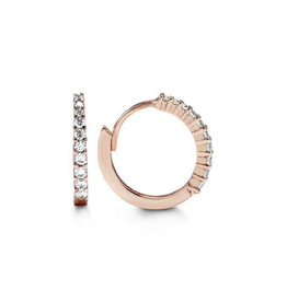 Rose Gold CZ Huggie Earrings (13mm)