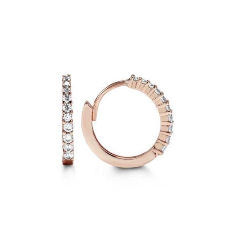 Rose Gold CZ Huggie Earrings (13mm)
