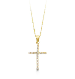 Yellow Gold CZ Cross Pendant with Chain