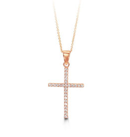 Rose Gold CZ Cross Pendant with Chain
