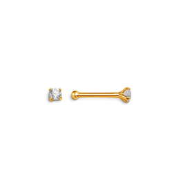 14K Yellow Gold (2mm) Cubic Zirconia Nose Stud