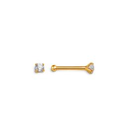 14K Yellow Gold (2mm) CZ Nose Stud