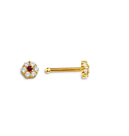 Nose Stud Red and Clear CZ 14K Yellow Gold