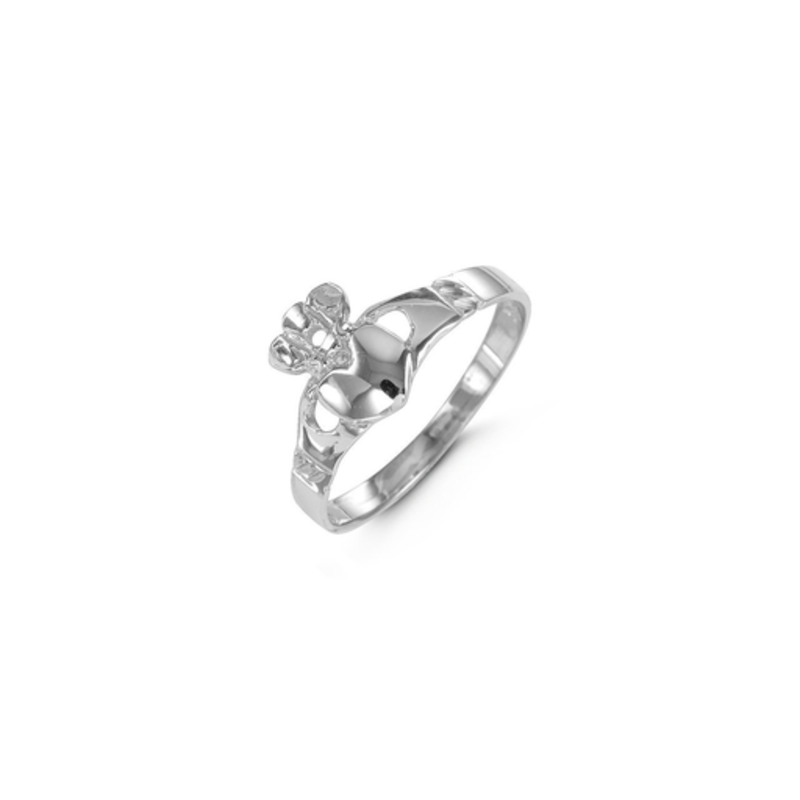 10K White Gold Ladies Claddagh High Polished Ring
