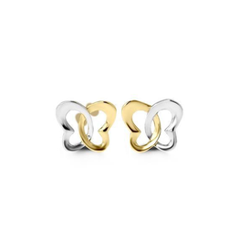 Yellow and White Gold Butterfly Stud Earrings