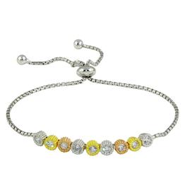 Silver Tri Colour CZ Rhodium Plated Bolo Bracelet