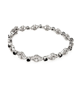 Silver Black and Clear CZ Rhodium Plated Tennis Bracelet