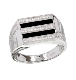 Sterling Silver 2 Toned Rhodium Plated Black Enamel CZ Men's Ring