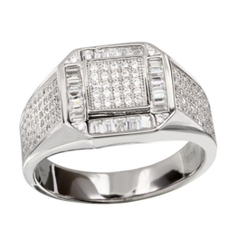 Men's Sterling Silver Rhodium Plated Square CZ Ring