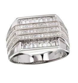Men's Sterling Silver Rhodium Plated 3 Bar CZ Ring