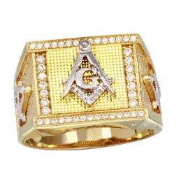Silver Masonic Gold Plating CZ Ring