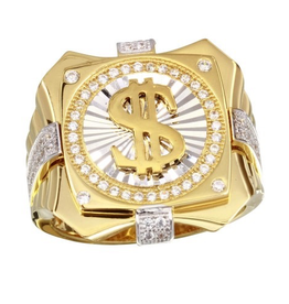 Silver Gold Plated CZ Dollar Sign Men's Ring