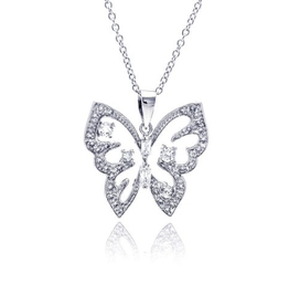 Silver CZ Rhodium Plated Butterfly Necklace