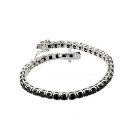 Silver Black Onyx  Rhodium Plated Tennis Bracelet