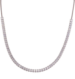 Sterling Silver Rhodium Plated Adjustable Tennis CZ Necklace