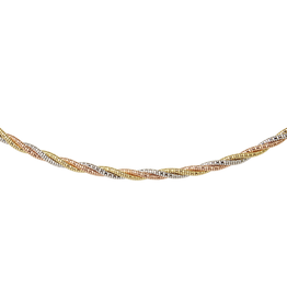 Silver, Yellow and Rose Plated Spring Omega Necklace