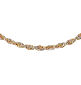 Silver, Yellow and Rose Plated Spring Twist Rope Necklace