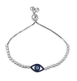 Silver CZ Evil Eye Rhodium Plated Bolo Bracelet