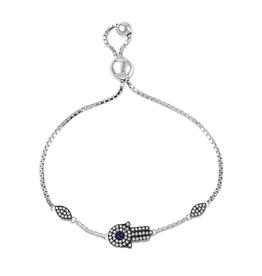 Silver CZ Hamsa Rhodium Plated Bolo Bracelet