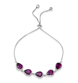 Silver Purple and Clear CZ Rhodium Plated Bolo Bracelet