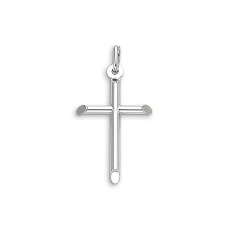 10K White Gold (Small) Hollow Tube Cross Pendant