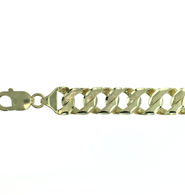 10K Yellow Gold (11mm) Handmade Curb Bracelet 8.5""