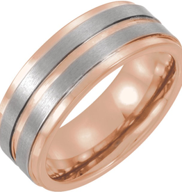 Tungsten 8mm Grooved Band with Rose Gold Plating