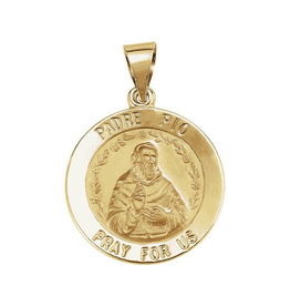 Yellow Gold Round Padre Pio Medallion