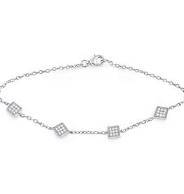 Sterling Silver Pavee Set CZ Bracelet
