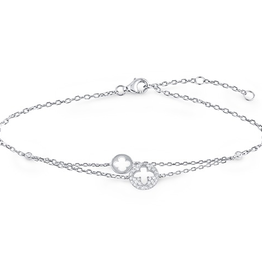 Silver CZ Adjustable Clover Bracelet
