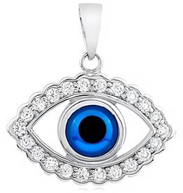Silver CZ Evil Eye Pendant