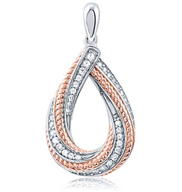 Silver Rose Gold Plated Pendant With CZ