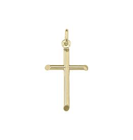 18K Yellow Gold Plain Tube Cross Pendant (Small)