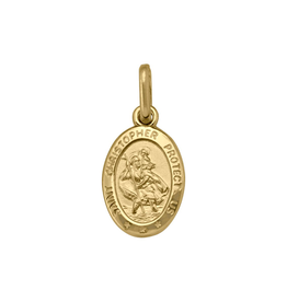 Yellow Gold St. Christopher Oval Medallion (Small)