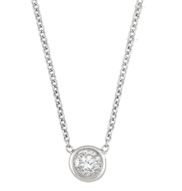 14K White Gold (0.10ct) Bezel Set Diamond Solitaire Necklace