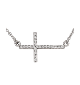 14K White Gold (0.11ct) Horizontal Diamond Cross Necklace