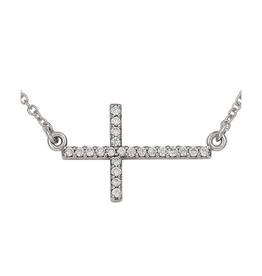 Sideway Cross Necklace (0.11ct) 14K White Gold